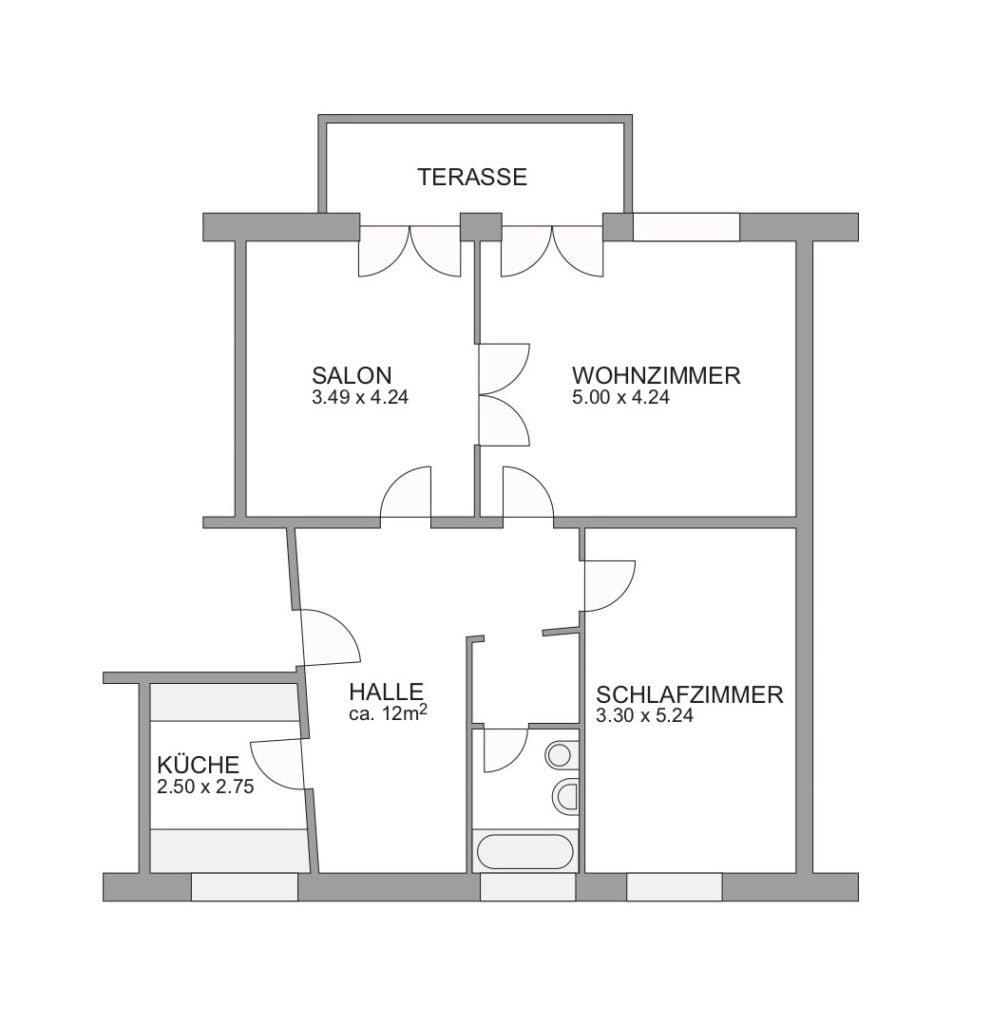 Plan der 3,5-Zimmerwohnung