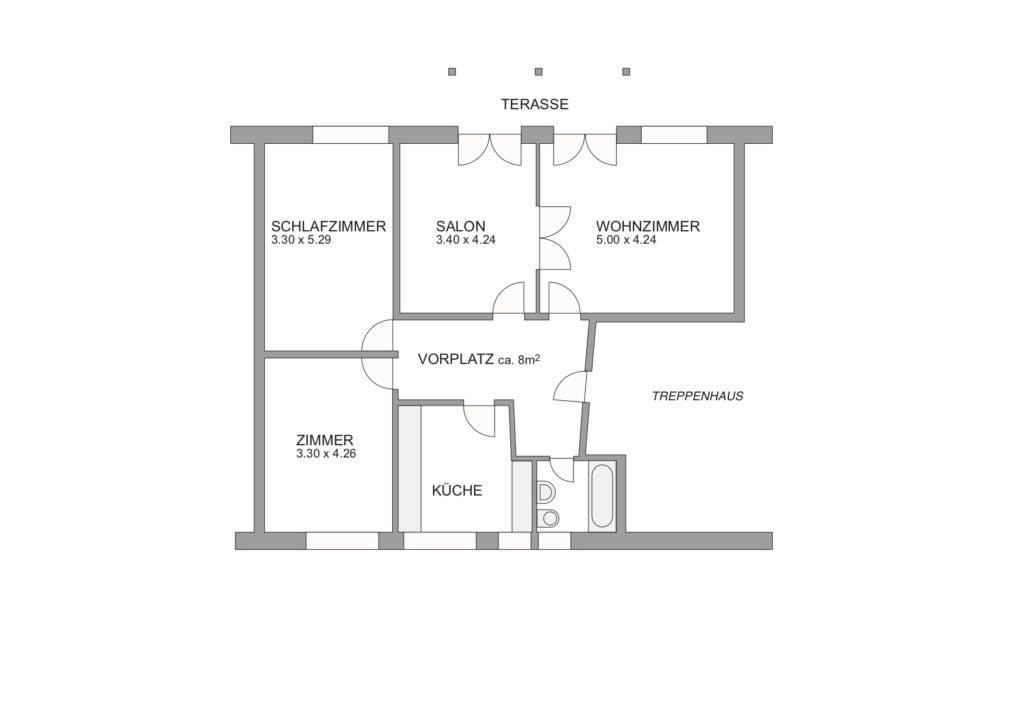 Grundriss 4-Zimmerwohnung mit Zimmer, Schlafzimmer, Salon, Wohnzimmer, Küche, Bad und Vorplatz.